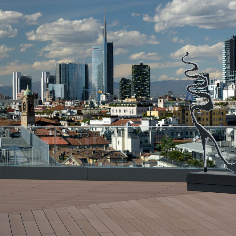 A rooftop in the heart of Milan clothed with our WoodN deck